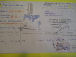 Quittance D´Abonnement / Société Du Gaz De Paris/ Publicité Félix Potin/1933         GEF8 - Electricity & Gas