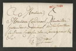 """Belgique - Précurseur - LAC De Malines (""""MALINES"""" En Rouge) à Ypres Du 26/09/1785 - Port """"5"""" - 1714-1794 (Pays-Bas Autrichiens)"""