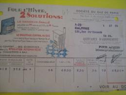 Quittance D´Abonnement / Société Du Gaz De Paris/ 1934         GEF14 - Electricity & Gas