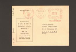 Schweiz Freistempel Von 1953 Verlag Hans Huber Bern Auf Bücherzettel Nach Deutschland 2 Bilder - Affranchissements Mécaniques