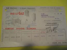 Quittance D´Abonnement / Société Du Gaz De Paris/ 1934         GEF22 - Electricity & Gas