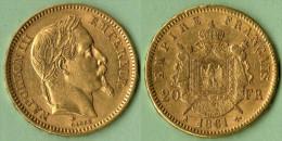 Pièce Or 20 Francs Napoléon III Laurier, 1861, 6,45 G - France