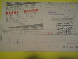 Quittance D´Abonnement / Société Du Gaz De Paris/ 1934         GEF23 - Electricity & Gas