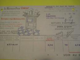 Quittance D´Abonnement / Société Du Gaz De Paris/ 1933        GEF24 - Electricity & Gas