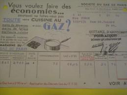 Quittance D´Abonnement / Société Du Gaz De Paris/ 1935       GEF25 - Electricity & Gas
