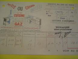 Quittance D´Abonnement / Société Du Gaz De Paris/ 1935       GEF26 - Electricity & Gas