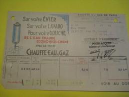 Quittance D´Abonnement / Société Du Gaz De Paris/ 1935       GEF30 - Electricity & Gas