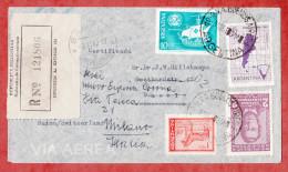 Luftpost, Einschreiben, MiF, Buenos Aires Nach Basel, Weitergeleitet Milano, Je AK-Stempel + Botenstempel? 1960 (48813) - Argentinien