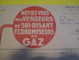 Quittance D´Abonnement / Société Du Gaz De Paris/ 1935       GEF35 - Electricity & Gas