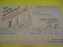 Quittance D´Abonnement / Société Du Gaz De Paris/ 1935       GEF38 - Electricity & Gas