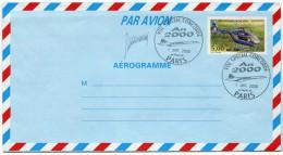 AEROGRAMME AVEC OBLITERATION VOL SPECIAL CONCORDE AN 2000 AU DEPART DE PARIS 1 JANV 2000 - Concorde