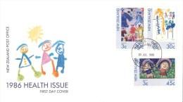 New Zealand 1986 Health - Children's Art  FDC - FDC