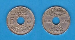 EGIPTO   5 MILLIEMES  1.916  AH1335  CU NI  KM#315   MBC/VF   DL-10.759 - Egipto
