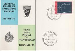 22497 San Marino  Partecipazione 28° Fiera Del Francobollo Riccione 76 - Storia Postale