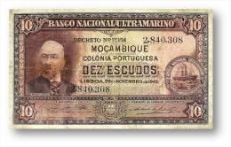 MOZAMBIQUE - 10 ESCUDOS - 29.11.1945 - P 95 - Seal Type III - ANTÓNIO ENNES - PORTUGAL - Mozambique