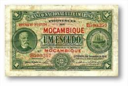 MOZAMBIQUE - 1$00 - 1 ESCUDO - 01.09.1941 - P 81 - F. De OLIVEIRA CHAMIÇO - PORTUGAL - Mozambique