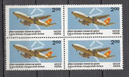INDIA, 1976, Indian Airlines Airbus Service Inaguration. Aviation, Airplane, Block Of 4,  MNH, (**) - Ongebruikt