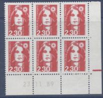 N° 2614 Marianne Du Bicenenaire 2,30f- Coin Daté 23-11-89 - Dated Corners