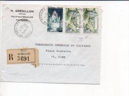 1966  Calvados - Recommandé,  CAD Recette (R) De Tilly Sur Seulles Sur Affranchissement Mixte / H. Grésillon Notaire - Marcophilie (Lettres)