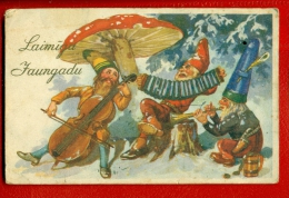 LATVIA LETTLAND MUSHROOM GNOMES AND DOUBLE BASS VINTAGE PC. W941 - Other