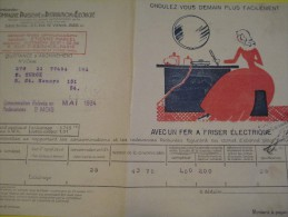 Quittance D´électricité/ Compagnie Parisienne De Distribution D´Electricité/Fer à Friser électrique/ 1934  GEF20 - Electricity & Gas