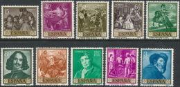 Spain 1959 Edifil # 1238-1247. Velazquez, MNH (**) - 1951-60 Nuevos & Fijasellos