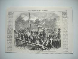 GRAVURE 1862. POSE DES PREMIERES PIERRES DE LA SOUS-PREFECTURE ET DE L'HOPITAL DE SAINT-JULIEN, HAUTE-SAVOIE. - Estampes & Gravures