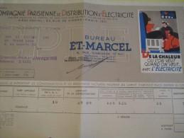Quittance D´électricité/ Compagnie Parisienne De Distribution D´Electricité/De La Chaleur/ 1936  GEF37 - Electricity & Gas