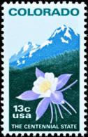 1977 USA Colorado Statehood Stamp #1711 Columbine Flower Rocky Mountain Mount Rock History - Geology
