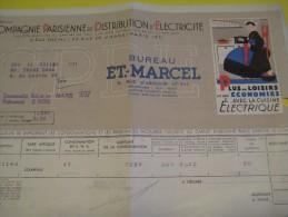Quittance D´électricité/ Compagnie Parisienne De Distribution D´Electricité/Cuisine électrique/ 1937  GEF40 - Electricity & Gas