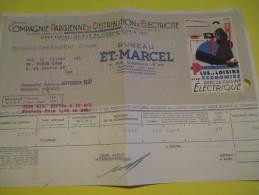 Quittance D´électricité/ Compagnie Parisienne De Distribution D´Electricité/Cuisine électrique/ 1937  GEF42 - Electricity & Gas