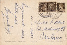 1942 - IMPERIALE + FRATELLANZA D'ARMI / VALORI GEMELLI CENT. 10 SU CARTOLINA FOTOGRAFICA DI ENNA  - S1951 - Poststempel
