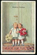 Feiertag, K. - Srdacno Cestitam! - Boy, Girl, Flowers - B.K.W.I. 142-6 ------- Postcard Traveled - Feiertag, Karl