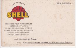Buvard SHELL Essence Huiles Gas Oil Petroles Jupiter - Bonnardel Paris - Hydrocarbures