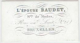 20230Mg Carte Porcelaine L´EPOUSE BAUDET - MODES - Rue Au Lait 25 - Bruxelles - 8.1x4.4c - Cartes De Visite