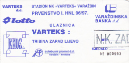 CROATIA ---- VARAZDIN    --  FOOTBALL TICKET  ----  NK  VARTEKS  -  NK ZADAR  --  1996 - Eintrittskarten