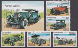 CAMBODJA  MI.NR.1416-1420+BLOCK 204 HISTORISCHE  AUTOMOBILE USED / GEBRUIKT / OBLITERE 1994 - Camboya