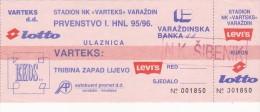 CROATIA ---- VARAZDIN    --  FOOTBALL TICKET  ----  NK  VARTEKS  -  NK SIBENIK  --  1995 - Eintrittskarten