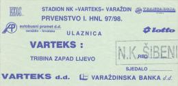 CROATIA ---- VARAZDIN    --  FOOTBALL TICKET  ----  NK  VARTEKS  -  NK SIBENIK  --  1997 - Eintrittskarten