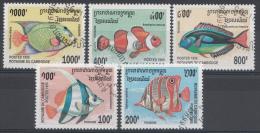 CAMBODJA  MI.NR.1543-1547 FISCHE USED / GEBRUIKT / OBLITERE 1995 - Camboya