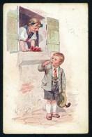 Feiertag, K. - Girl, Boy, Window - B.K.W.I. 773-1 ------- Postcard Traveled - Feiertag, Karl