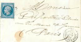 LETTRE  Fraguement De Lettre  Napoléon III 20 C Bleu N14 L'isle Sur La Sorgue Paris 1862 - Marcophilie (Lettres)