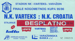 CROATIA ---- VARAZDIN    --  FOOTBALL TICKET  ----  NK  VARTEKS  -  NK CROATIA   --  1995 - Eintrittskarten