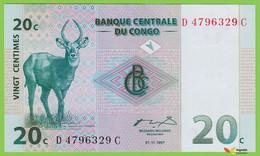 Voyo CONGO 20 Centimes 1997 P83a  B304a Prefix D Surfix C UNC  Upemba National Park - Congo