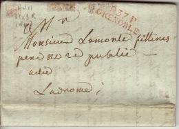 Isere - P.37.P Grenoble- Lettre Avec Correspondance  -PP 31x9- Rouge - AN11 - Marcophilie (Lettres)