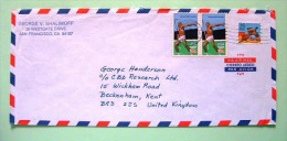 USA 1983 Cover San Francisco To England - Sport Olympics Decathlon Javelin Throwing - Bird Pheasant - Etats-Unis