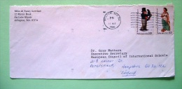 USA 1986 Cover Boston To England - Folk Art - Woman Ship Figure - Man Nautical Figure - Lettres & Documents