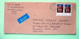 USA 1987 Cover San Antonio To England - Delaware Arms Cow Ship - Stati Uniti