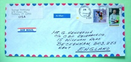 USA 1988 Cover Binghamton To England - Australia Bicentennial - Koala Eagle Flags - Knute Rockne Football - Disabled ... - Etats-Unis