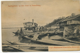 Aanlegplaats Op Den River Te Palembang Edit Boekhandel Visser Weltevreden - Indonesia